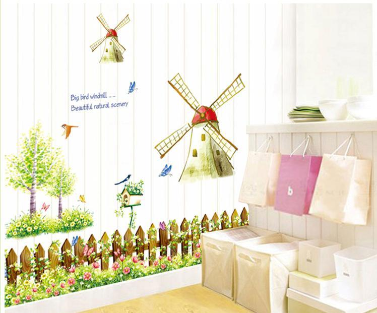 wall sticker tree house windmill bird butterfly colourful&designers'