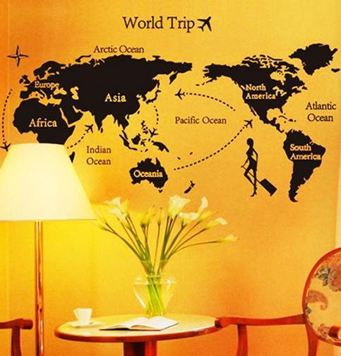 wall sticker world trip aeroplane black & white series