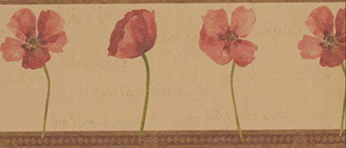 Wallpaper Border Red Poppies Beige (end 4/18/2021 12:00 AM)