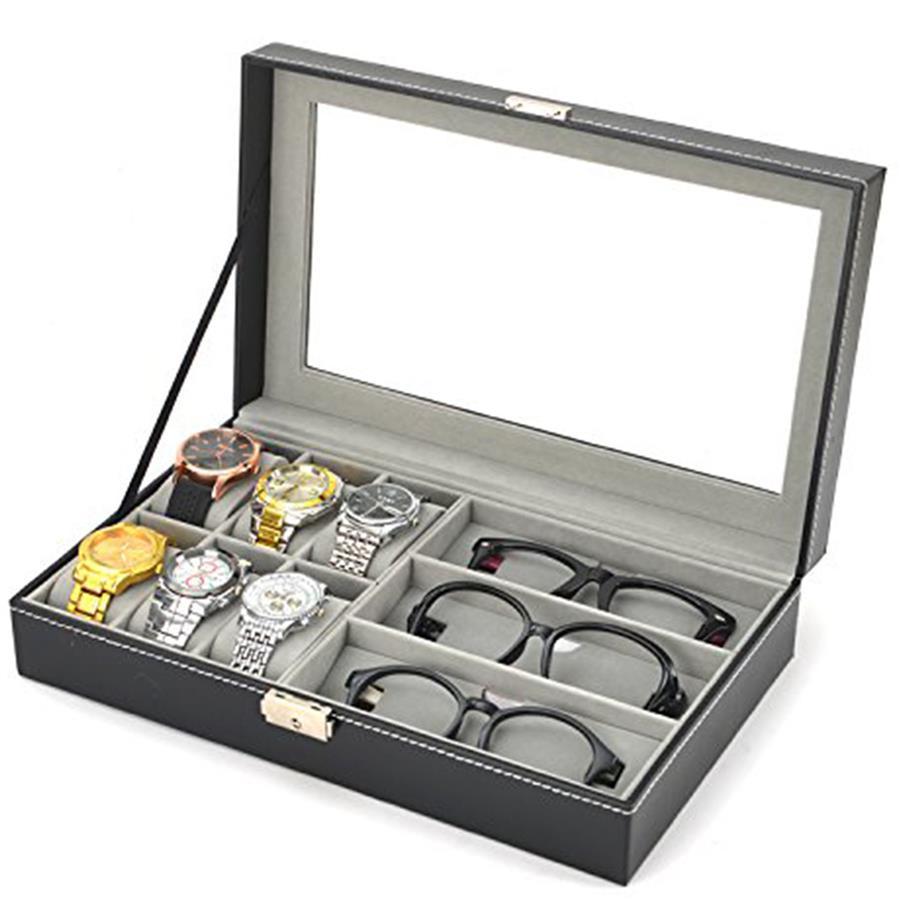 d023da1f345 Watches Sunglass Glasses Display Box PU Leather Storage Jewelry Case. ‹ ›