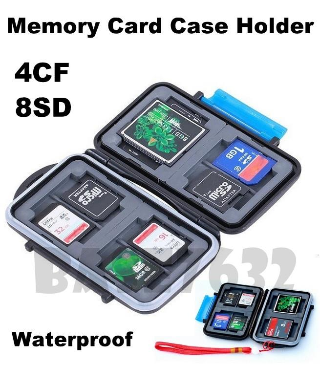 Waterproof  4 CF Compact Flash Memory 8 SD Card Storage Case Holder