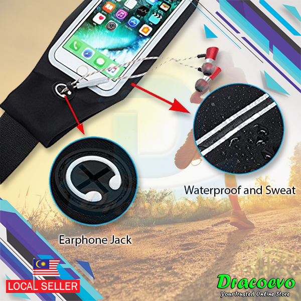 low priced 872e1 52fb8 Waterproof Jogging Sports Gym Waist Bag Belt Pouch Mobile Phone 5 Inch