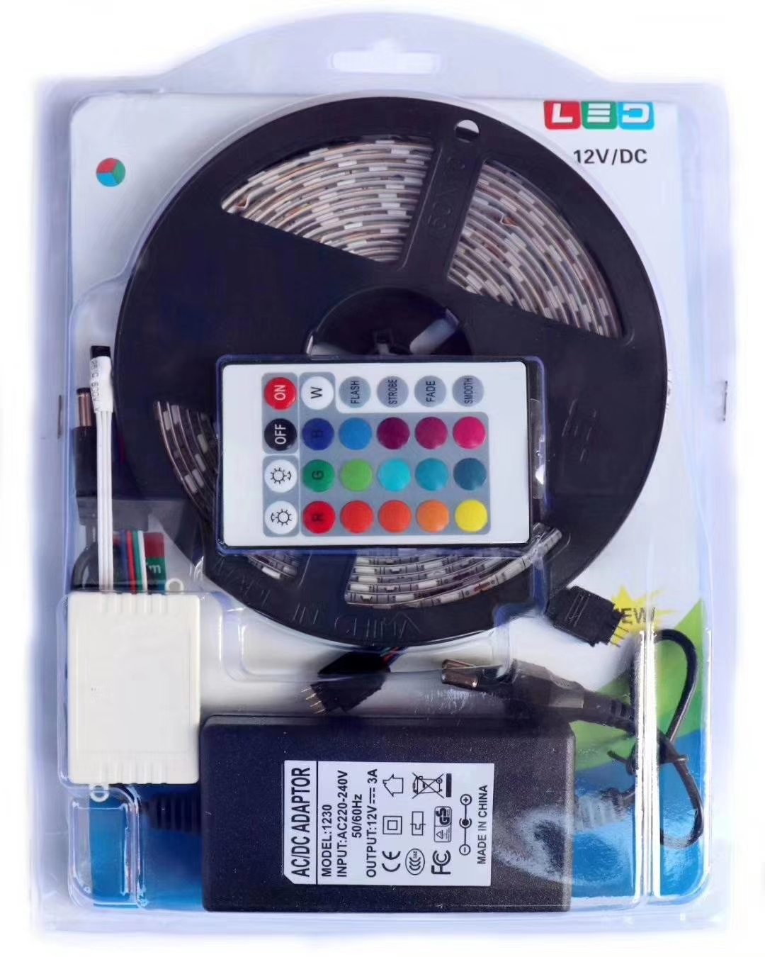 Waterproof RGB LED Strip Light With 24 / 44 Key Remote & Power Supply