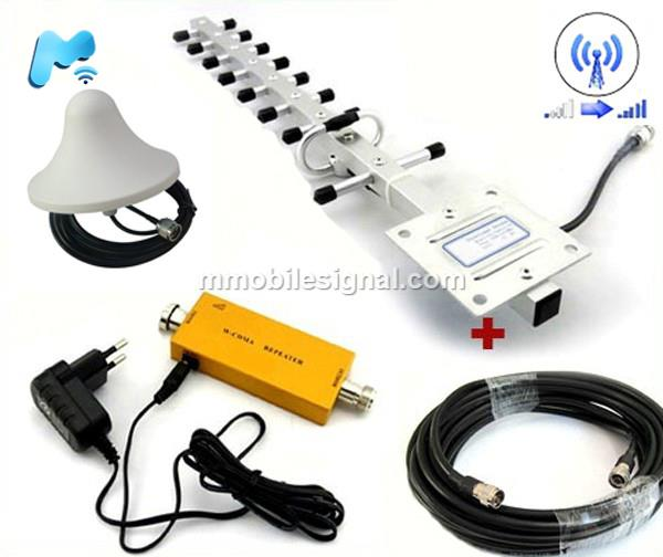 WCDMA 2100MHz 3G Phone Signal Booster Yagi 10m & Ceiling Antenna 3m