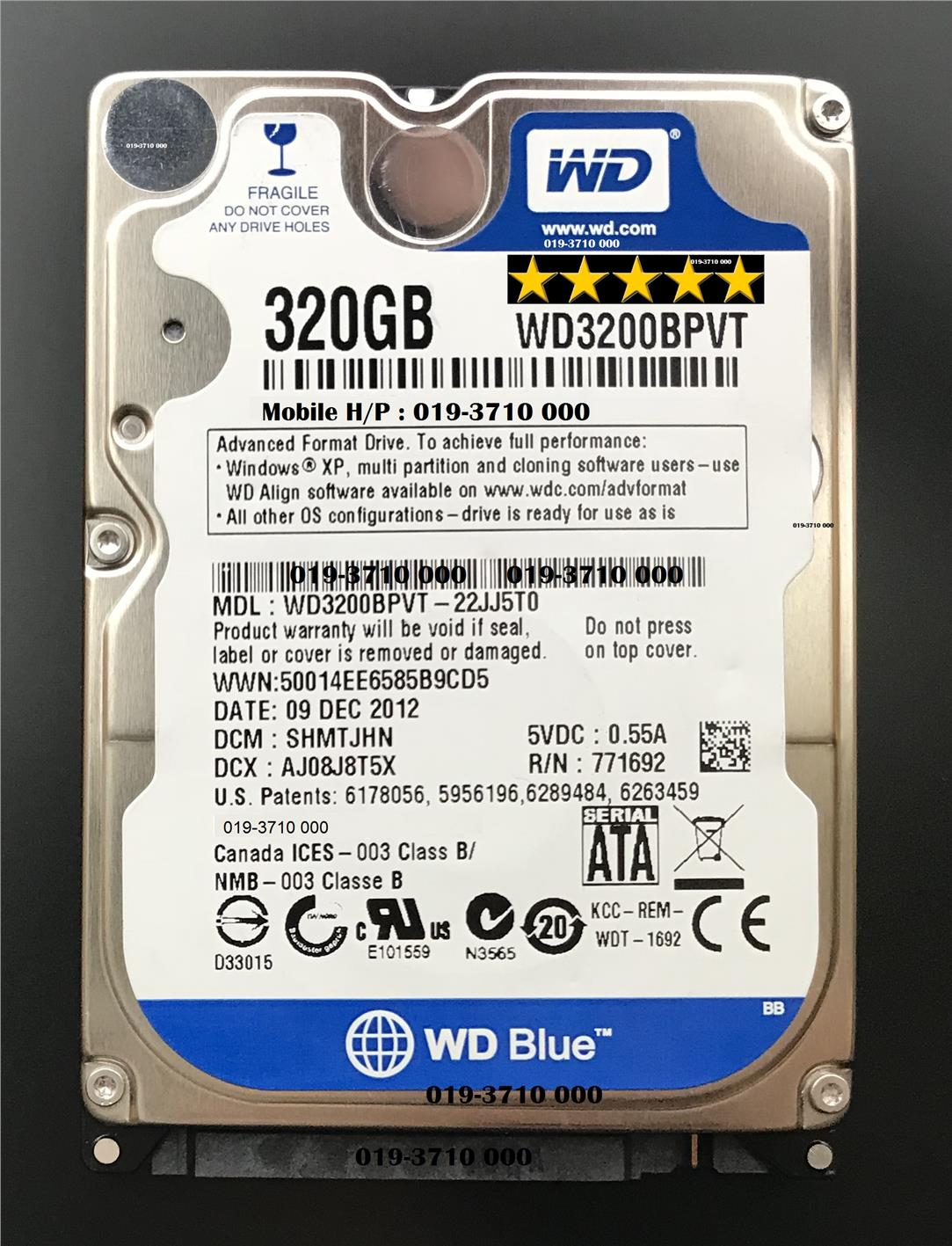 WD 320GB Notebook HDD SATA2 Laptop Notebook Hard Disk (WD3200BPVT)