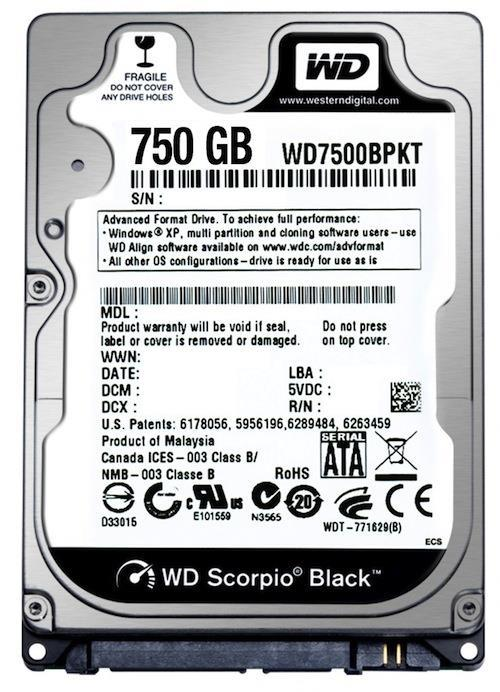 "WD Black 750GB SATA 2.5"" Notebook Hard Disk Laptop HDD WD7500BPKT"
