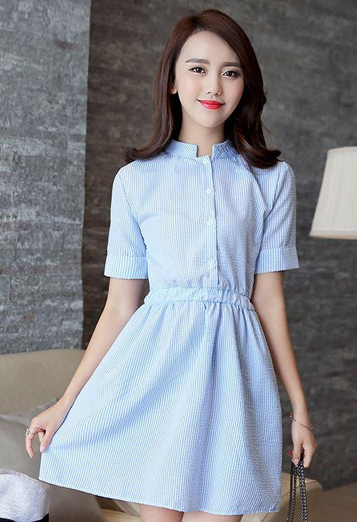 WD16 Korean Style Stripe Back Tie Shortsleeve Dress