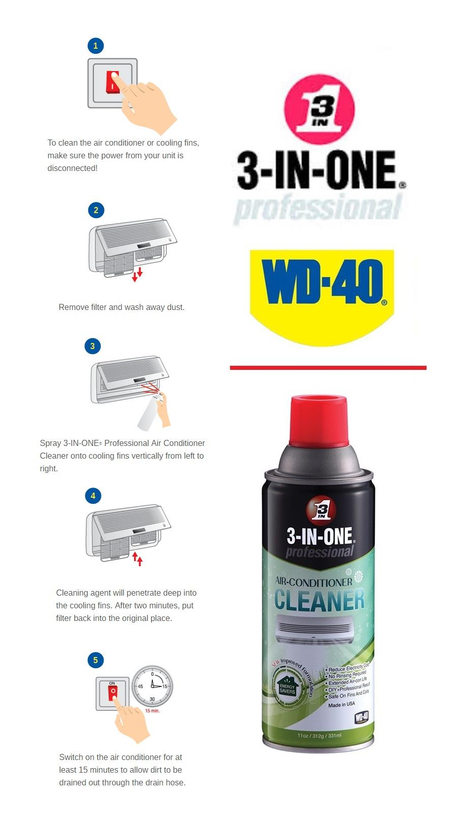 WD40 3-in-1 Professional Air-Conditioner Cleaner