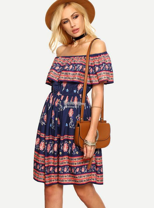WD7230 Off Shoulder Dress As Picture