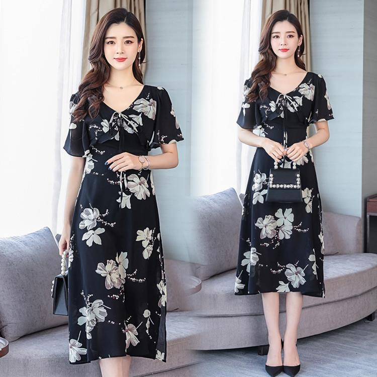 WD9015 Women Flutter Sleeve Floral Midi Dress