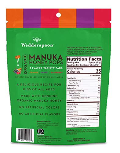 Wedderspoon Organic Manuka Honey Pops for Kids, Variety Pack, Unpasteurized, G