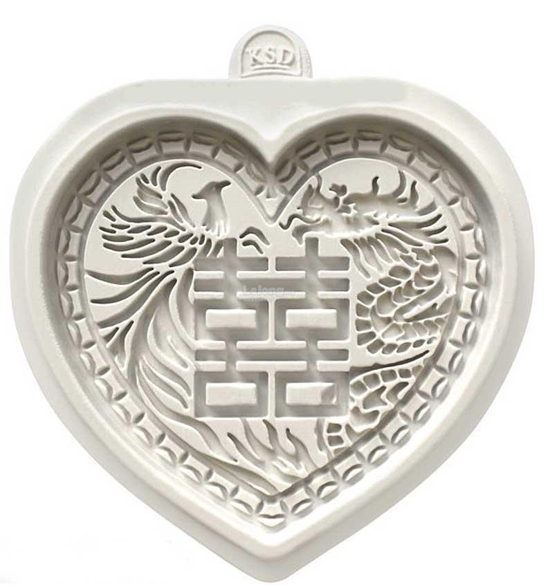 WEDDING CHINESE DOUBLE HAPPINESS PHOENIX SILICONE MOULD