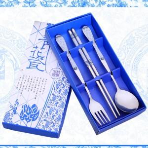 Wedding Gift~Portable Stainless Steel Dinner Set 3pcs (Blue)