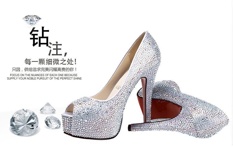 WEDDING SHOES BRIDAL SHOES HIGH HEELS DIAMOND RHINESTONE MODEL SHOES. U2039 U203a