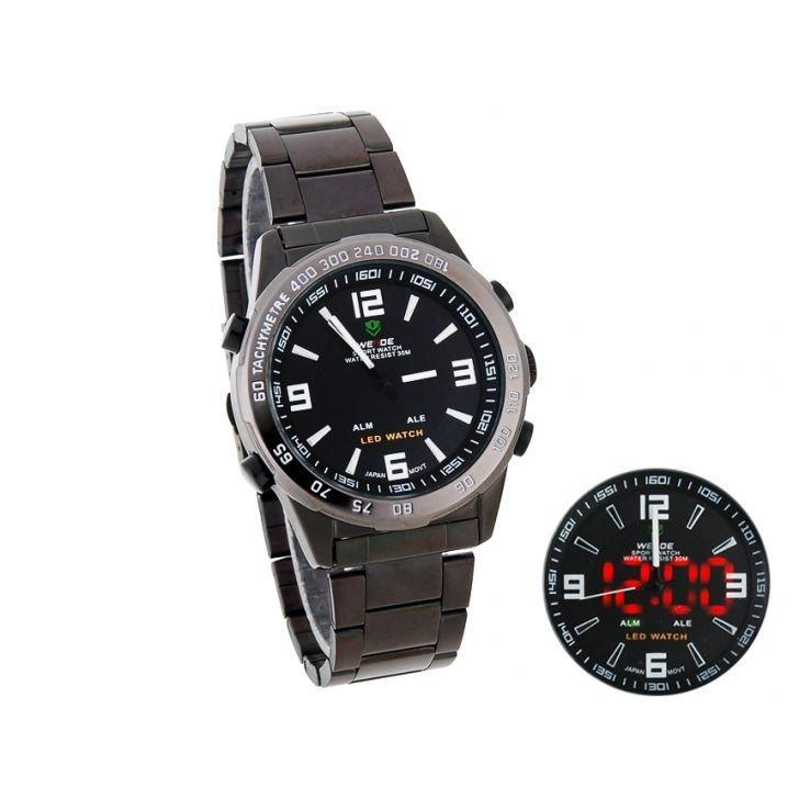 Weide Dual Time Led Stainless Steel Watch Black White