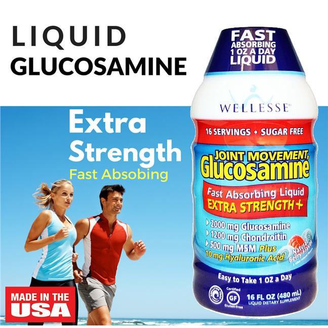 Wellesse Liquid Glucosamine Joint Movement, Natural Berry Flavor,480ml