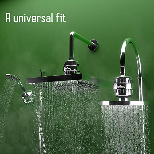 ~ Welluxy 12-Stage Chrome Shower Head Filter- Universal Kit with 2 Replacement