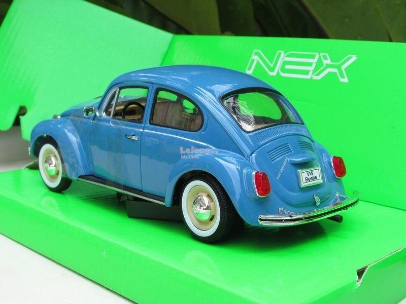 Welly 1/24 Diecast Car Classic VW Volkswagen Beetle (BLUE) Rims Silver