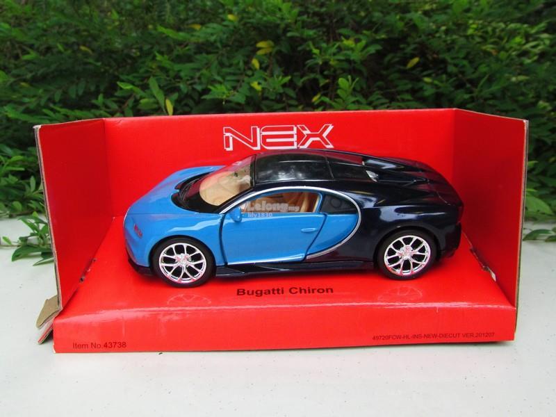 Welly 1/34-1/39 Diecast Bugatti Chiron (Blue/Black)