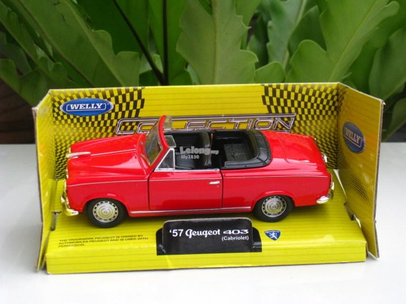 Welly 1/34-1/39 Diecast Peugeot 403 Cabriolet 1957 (Red)