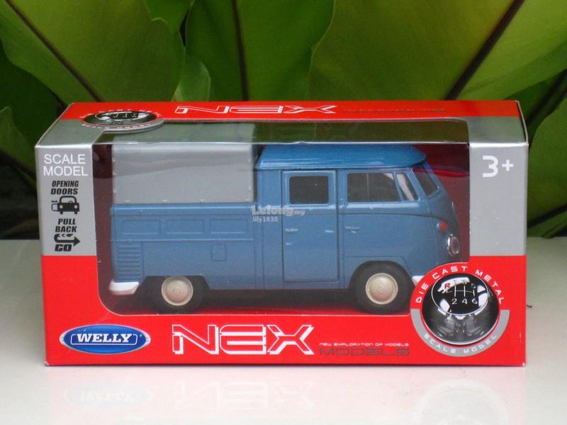 Welly 1/34-1/39 Diecast VW Volkswagen T1 Double Cabin Pick Up (Blue)
