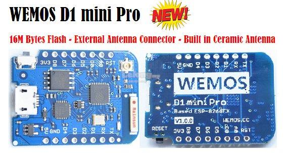 WEMOS D1 mini Pro V1.1.0 - 16M bytes external antenna connector ESP826