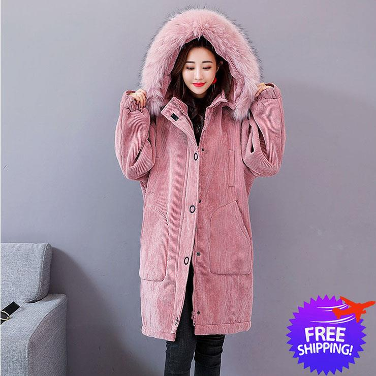 Western Design Women Thick Fur Neck Hooded Jacket