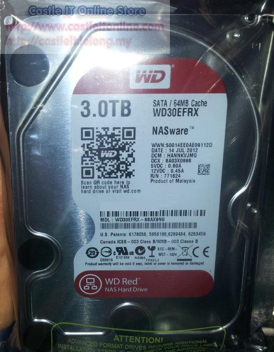 WESTERN DIGITAL HDD INT 3.5' NAS RED 3TB SATA3 64MB (WD30EFRX)