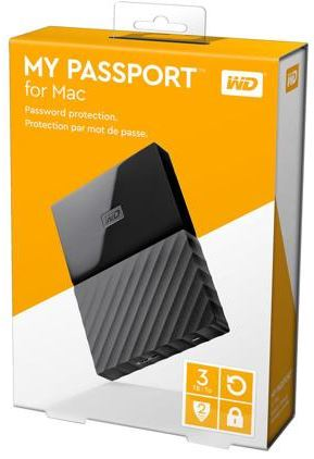 WESTERN DIGITAL MY PASSPORT FOR MAC 3TB EXT HDD (WDBP6A0030BBK) BLACK