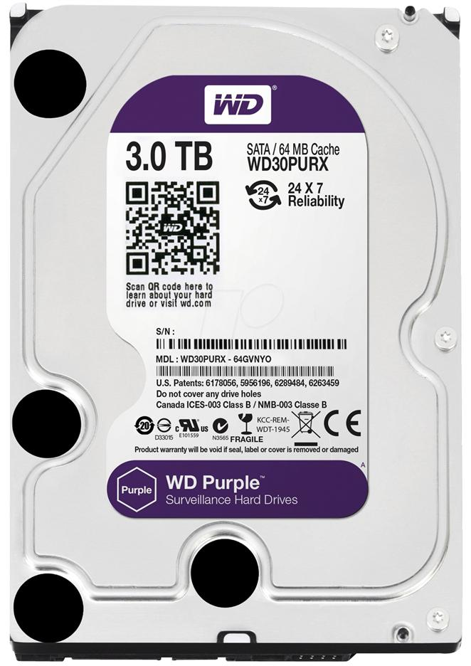 Western Digital Purple 3.5' 3TB Surveillance Hard Drive