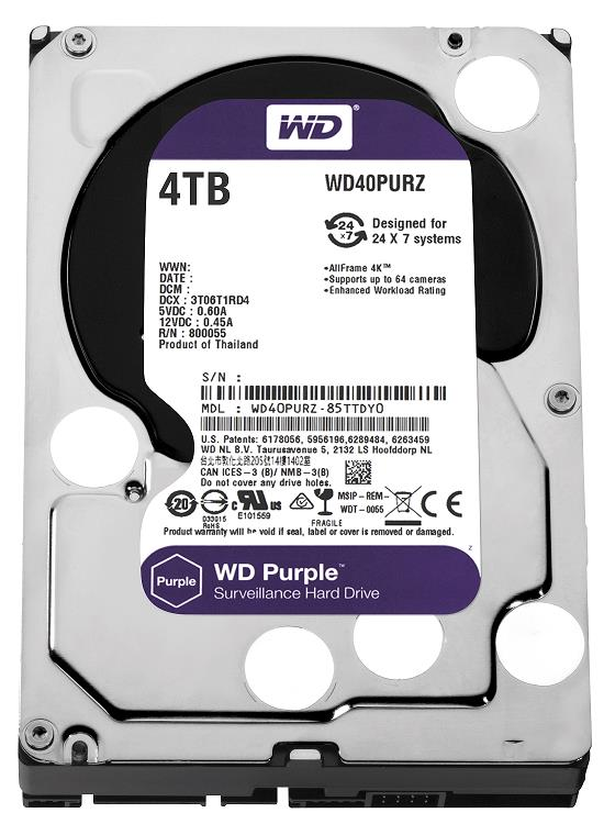 Western Digital Purple 3.5' 4TB Surveillance Hard Drive