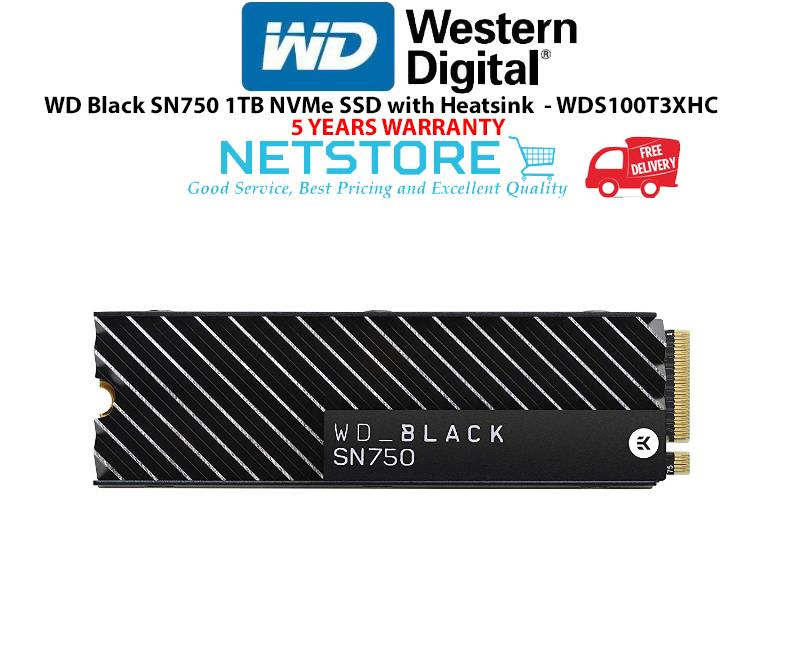 Western Digital WD Black SN750 1TB NVMe SSD with Heatsink- WDS100T3XHC
