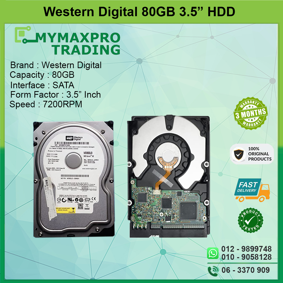 Western Digital WD Blue 80GB 3.5 SATA 7200RPM WD800JD
