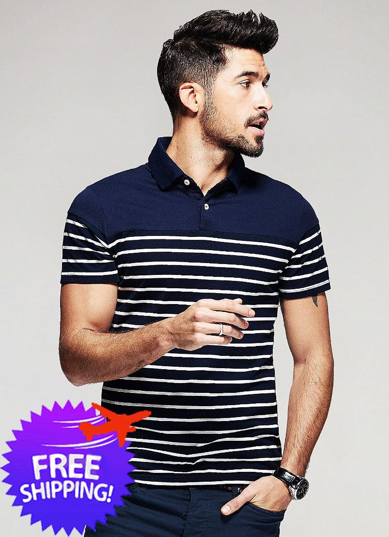 Western Fashion Men Short Sleeve Turn Down Collar Stripe Polo T-Shirt