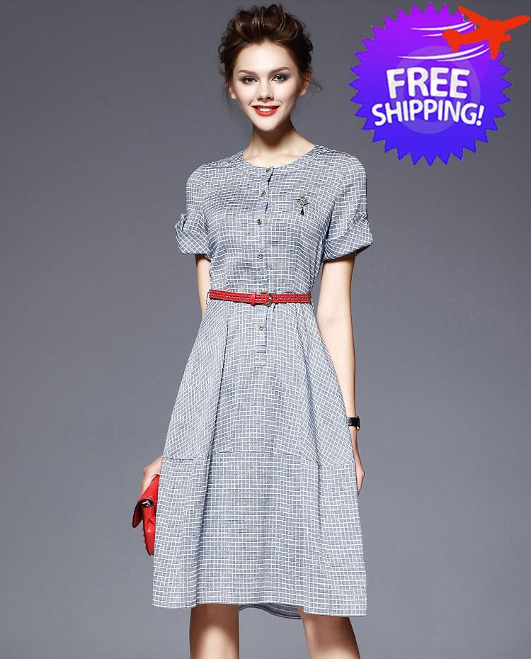 Western Fashion Women Lady Round Neck Office Wear Dress Free Belt