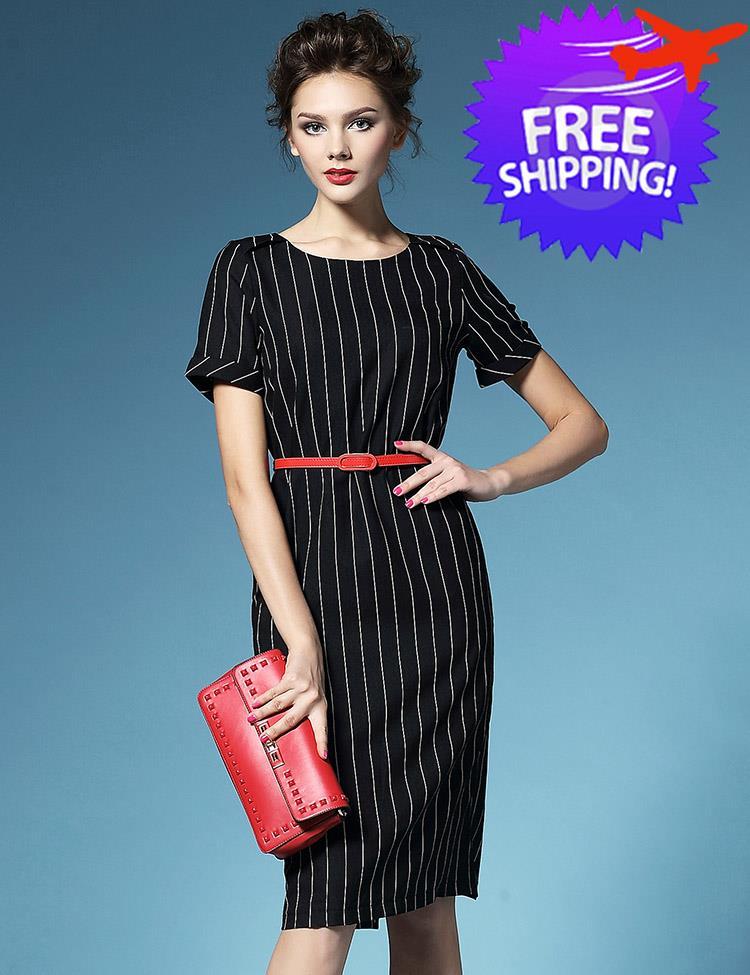 Western Fashion Women Lady Office Wear Stripe Slim Fit Dress Free Belt
