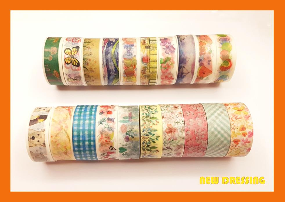 WH012B - Assorted Pattern Washi Tape (10 Rolls) V2