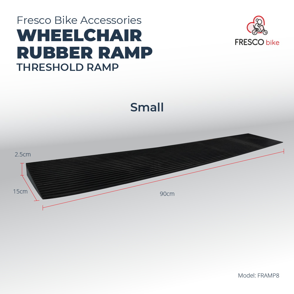 Wheelchair Rubber Threshold Ramp 90 x 15 x 2.5cm