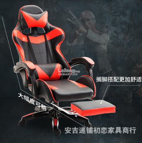 WHITE BLACK COLOUR WITHOUT LEG REST Gaming Swivel Office Chair kerusi
