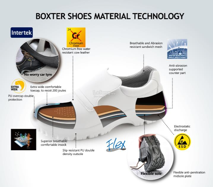 White ESD antistatic micro fiber safety shoes MALAYSIA