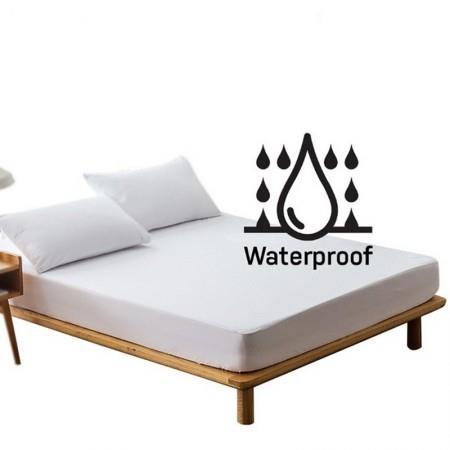 WHITE FITTED SHEET BREATHABLE SURFACE WATERPROOF INNER LAYER MATTRESS