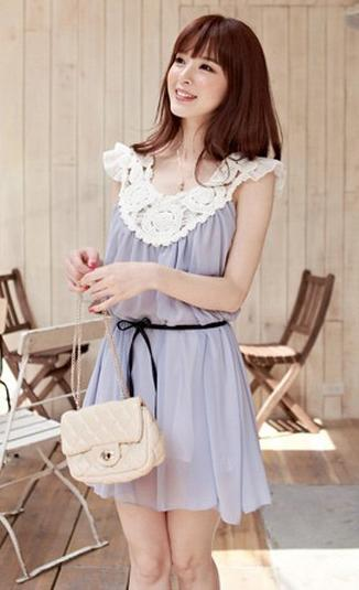 White Flower Side Grey Chiffon Dress 12380