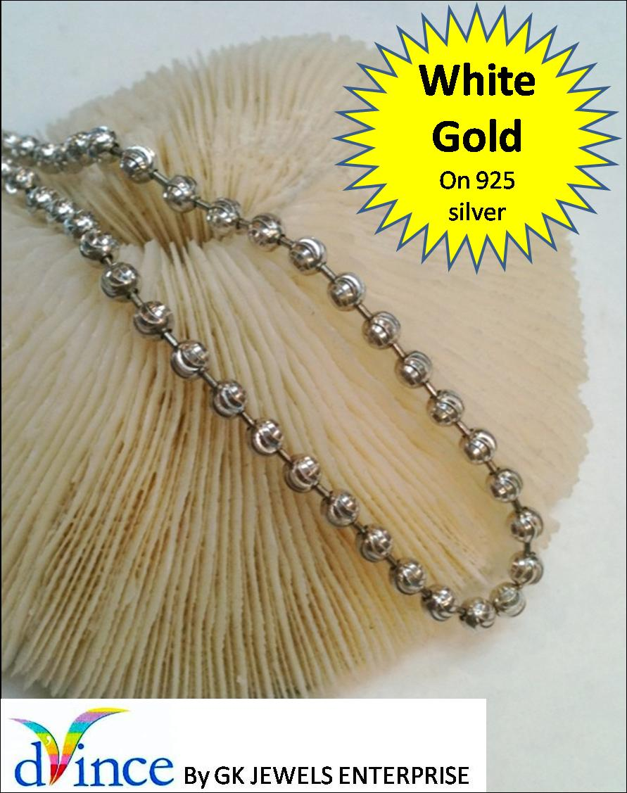 White Gold On 925 Silver Chain *136 (L:95cm, W: 5mm)