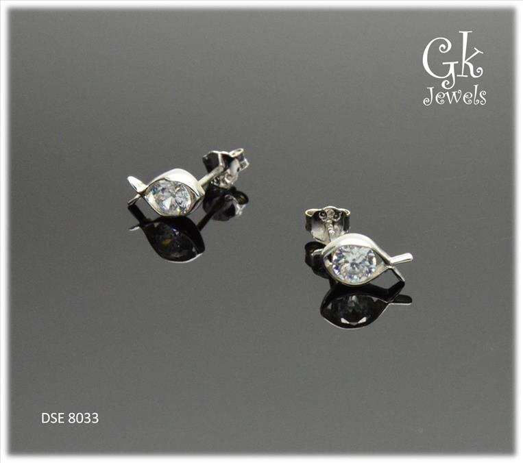 White Gold On 925 Silver Earring DSE 8033