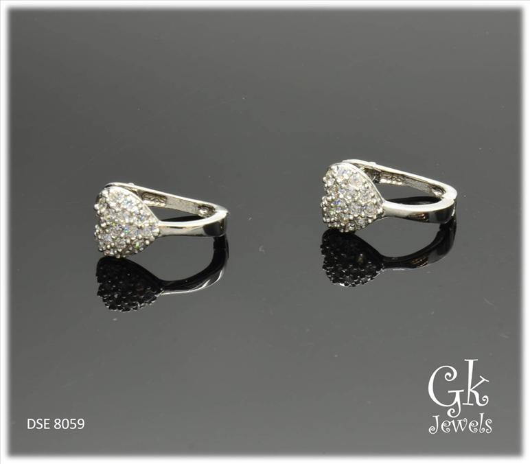 White Gold On 925 Silver Earring DSE 8059