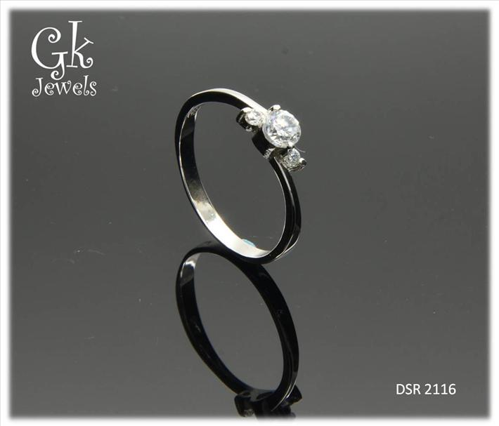 White Gold On 925 Silver Ring DSR 2116