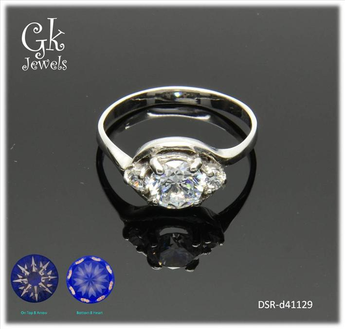 White Gold On 925 Silver Ring DSR-d41129