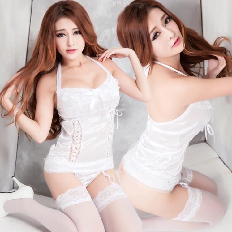 White Ice Silk Lace Galter Belt Teddies Sleepwear Lingerie Set. ‹ › d55752444