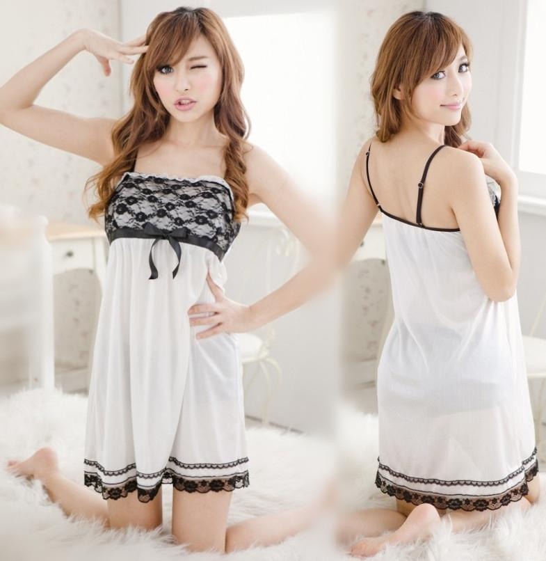 White Ice Silk Robes + Babydoll Dress + G-string Sleepwear Set ee234e149