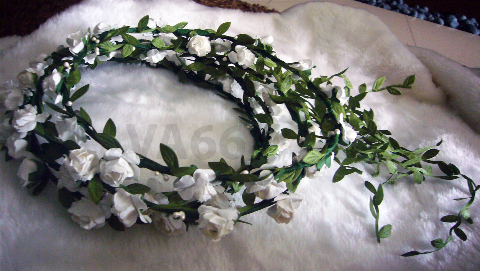 White rose flower girl hair wreath b end 5292017 752 pm white rose flower girl hair wreath bridal flower crown headband trail izmirmasajfo Image collections